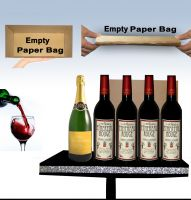 Appearing Champagne and Wine Bottles from Empty Paper Bag